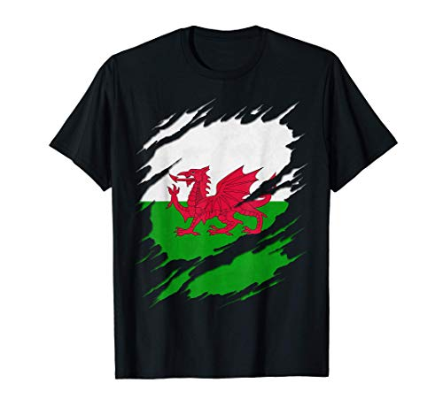 Flag of Wales Welsh Flag Ripped Reveal T-Shirt