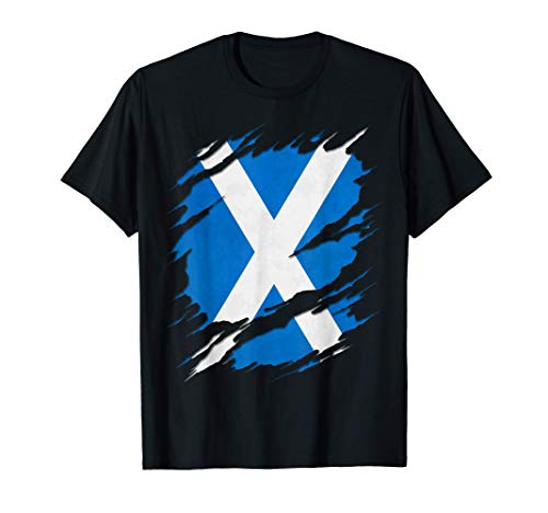 Flag of Scotland Saint Andrew's Cross Ripped Reveal T-Shirt