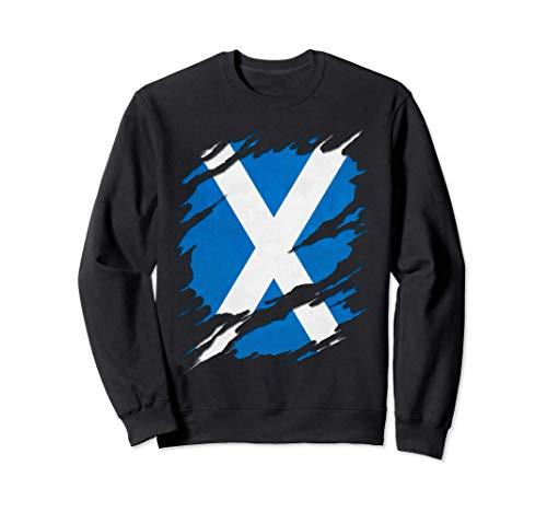 Flag of Scotland Saint Andrew's Cross Ripped Reveal Sweatshirt