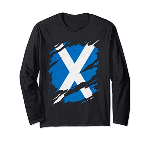 Flag of Scotland Saint Andrew's Cross Ripped Reveal Long Sleeve T-Shirt