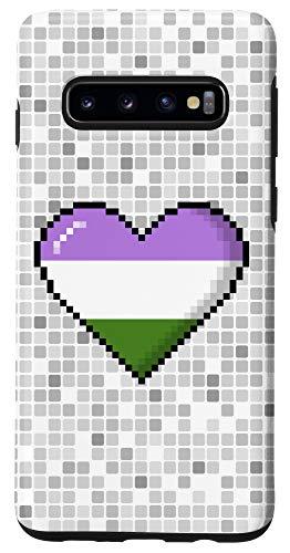 Galaxy S10 Genderqueer Pride 8-Bit Pixel Heart Case