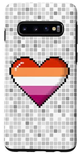 Galaxy S10 Lesbian Pride 8-Bit Pixel Heart Case