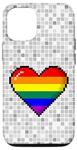 iPhone 12/12 Pro LGBTQ Rainbow Pride 8-Bit Pixel Heart Case