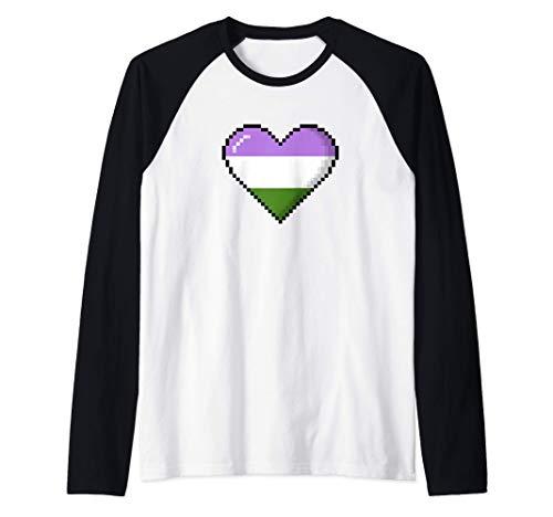 Genderqueer Pride 8-Bit Pixel Heart Raglan Baseball Tee