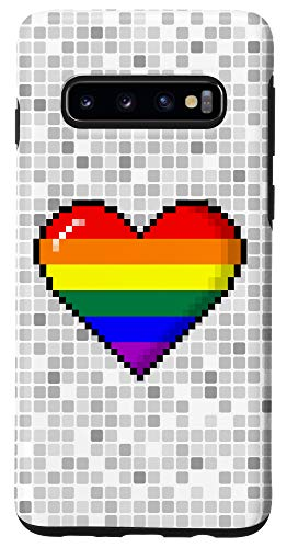 Galaxy S10 LGBTQ Rainbow Pride 8-Bit Pixel Heart Case