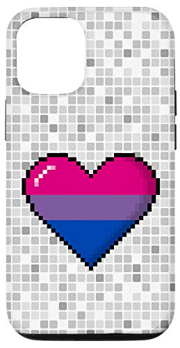 iPhone 12/12 Pro Bisexual Pride 8-Bit Pixel Heart Case