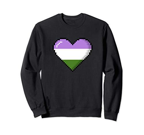 Genderqueer Pride 8-Bit Pixel Heart Sweatshirt