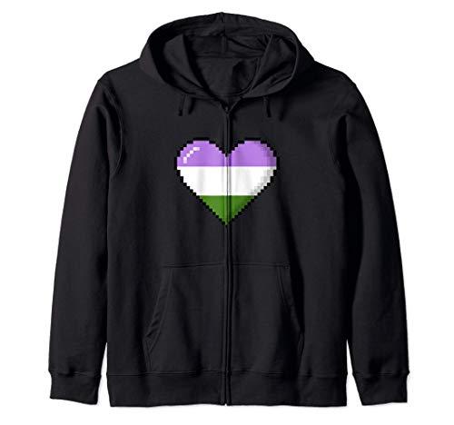 Genderqueer Pride 8-Bit Pixel Heart Zip Hoodie