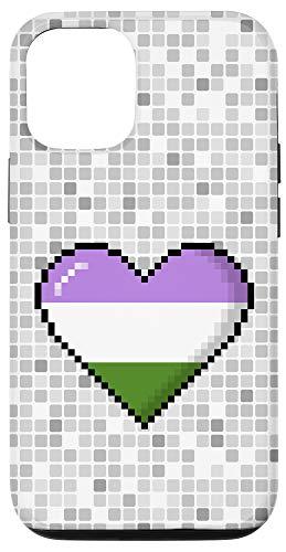 iPhone 12/12 Pro Genderqueer Pride 8-Bit Pixel Heart Case