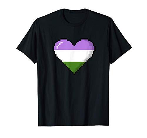 Genderqueer Pride 8-Bit Pixel Heart T-Shirt