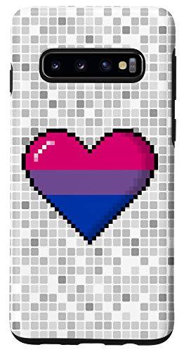 Galaxy S10 Bisexual Pride 8-Bit Pixel Heart Case