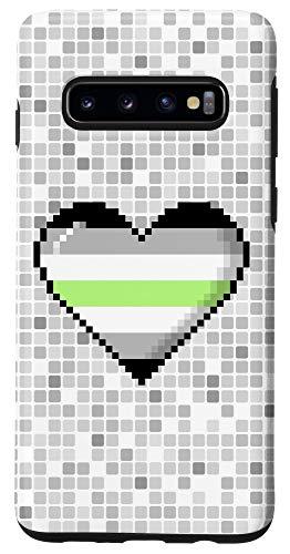 Galaxy S10 Agender Pride 8-Bit Pixel Heart Case
