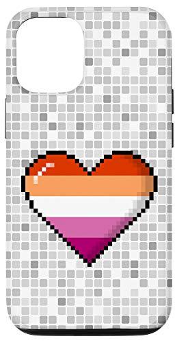iPhone 12/12 Pro Lesbian Pride 8-Bit Pixel Heart Case