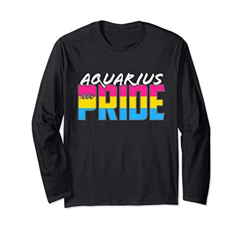 Pansexual Aquarius Pride Flag Zodiac Sign Long Sleeve T-Shirt