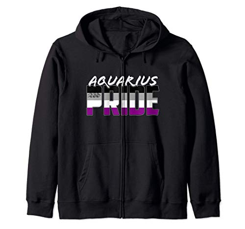 Aquarius Asexual Pride Flag Zodiac Sign Zip Hoodie