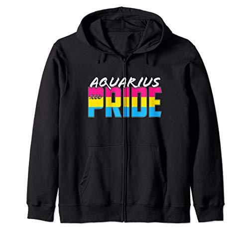 Pansexual Aquarius Pride Flag Zodiac Sign Zip Hoodie
