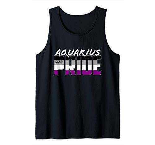 Aquarius Asexual Pride Flag Zodiac Sign Tank Top
