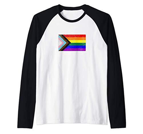 Distressed Progress LGBTQ Pride Flag Raglan Baseball Tee