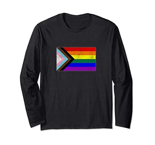 Distressed Progress LGBTQ Pride Flag Long Sleeve T-Shirt