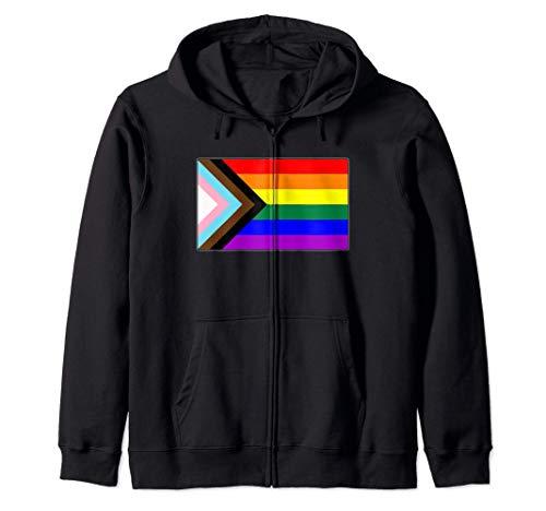 Progress LGBTQ Gay Pride Flag Zip Hoodie