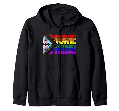 LGBTQ Progress Pride Flag Ripped Reveal Zip Hoodie