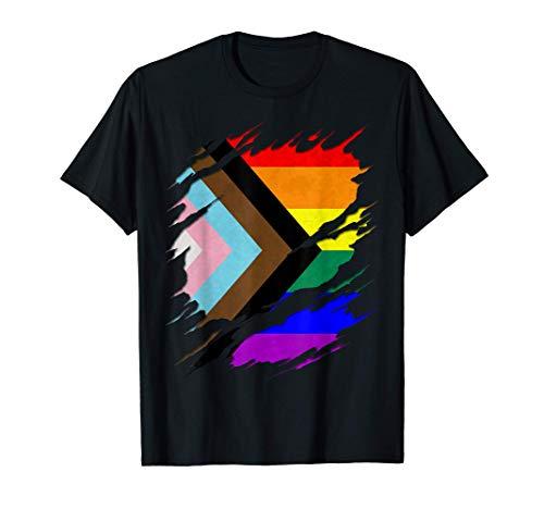 LGBTQ Progress Pride Flag Ripped Reveal T-Shirt