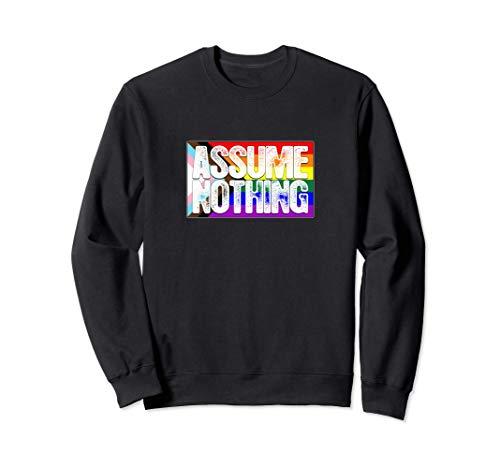 Assume Nothing LGBTQ Progress Pride Flag Sweatshirt