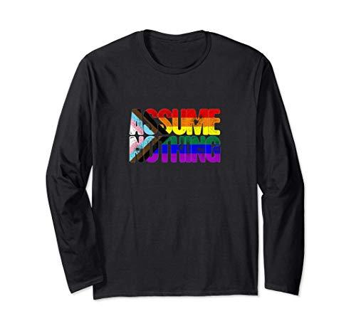 LGBTQ Progress Pride Flag Ripped Reveal Long Sleeve T-Shirt