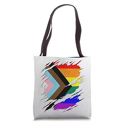 LGBTQ Progress Pride Flag Ripped Reveal Tote Bag