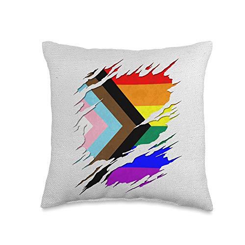Whee! Design LGBTQ Progress Pride Flag Ripped Reveal Throw Pillow, 16x16, Multicolor