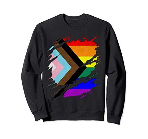 LGBTQ Progress Pride Flag Ripped Reveal Sweatshirt