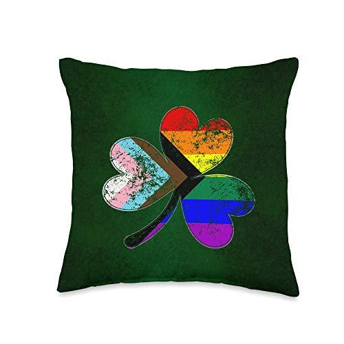 Whee! Design LGBTQ Progress Pride Shamrock Throw Pillow, 16x16, Multicolor