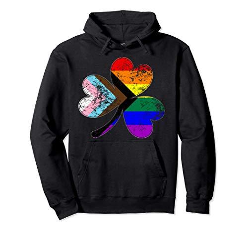 LGBTQ Progress Pride Shamrock Pullover Hoodie