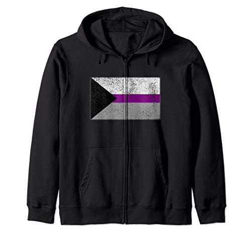 Distressed Demisexual Pride Flag Zip Hoodie