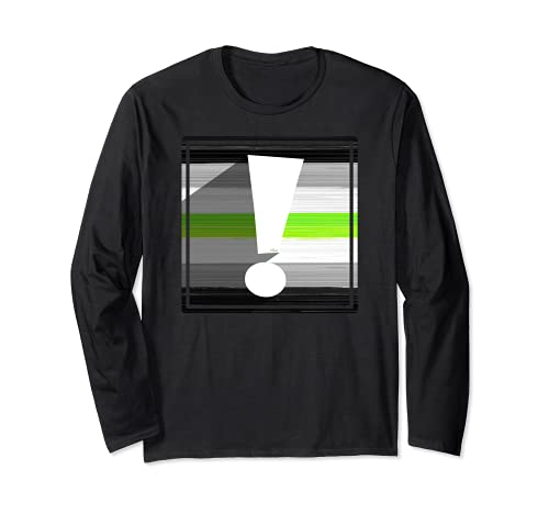Agender Pride Flag Exclamation Point Shadow Long Sleeve T-Shirt