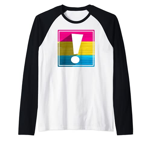 Pansexual Pride Flag Exclamation Point Shadow Raglan Baseball Tee