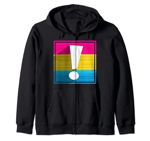 Pansexual Pride Flag Exclamation Point Shadow Zip Hoodie