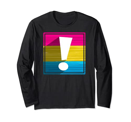 Pansexual Pride Flag Exclamation Point Shadow Long Sleeve T-Shirt