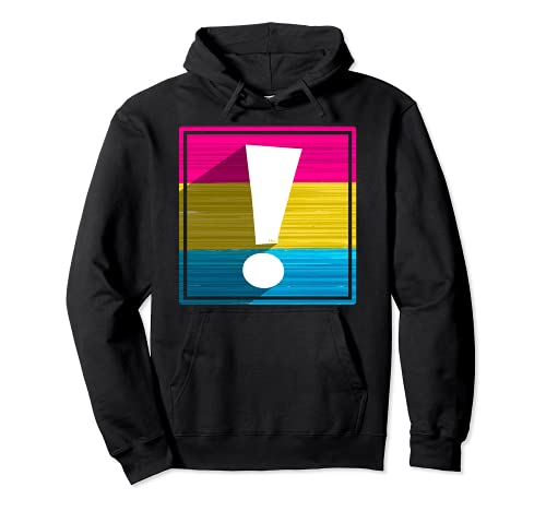 Pansexual Pride Flag Exclamation Point Shadow Pullover Hoodie
