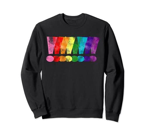 Distressed Gilbert Baker LGBT Pride Exclamation Points Sweatshirt