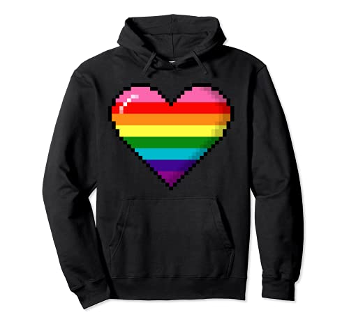 Gilbert Baker Original LGBTQ Gay Pride 8-Bit Pixel Heart Pullover Hoodie