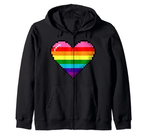 Gilbert Baker Original LGBTQ Gay Pride 8-Bit Pixel Heart Zip Hoodie