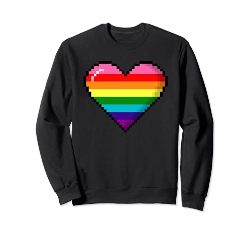 Gilbert Baker Original LGBTQ Gay Pride 8-Bit Pixel Heart Sweatshirt