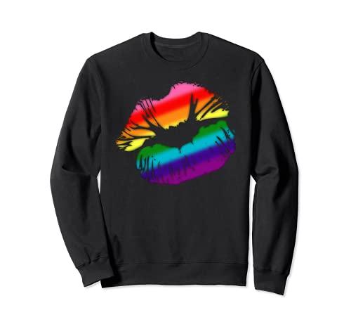 Original Gilbert Baker LGBTQ Love Rainbow Pride Kissing Lips Sweatshirt