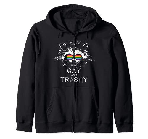Gay and Trashy Raccoon Sunglasses Gilbert Baker LGBTQ Pride Zip Hoodie