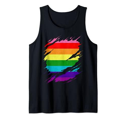 Original Gilbert Baker LGBT Gay Pride Flag Ripped Reveal Tank Top