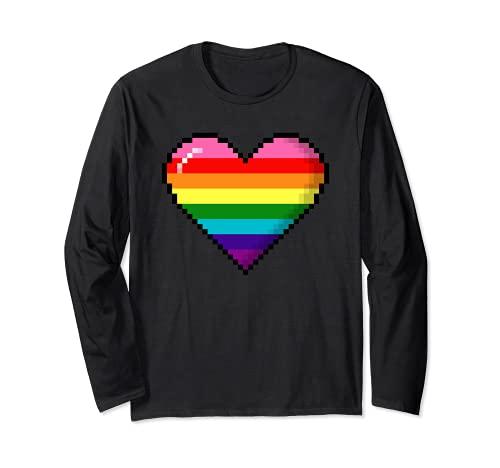 Gilbert Baker Original LGBTQ Gay Pride 8-Bit Pixel Heart Long Sleeve T-Shirt