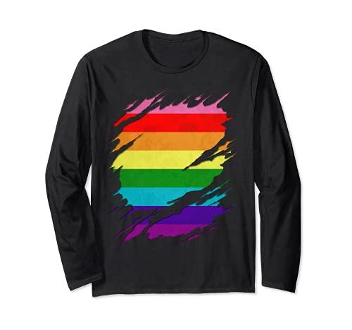 Original Gilbert Baker LGBT Gay Pride Flag Ripped Reveal Long Sleeve T-Shirt