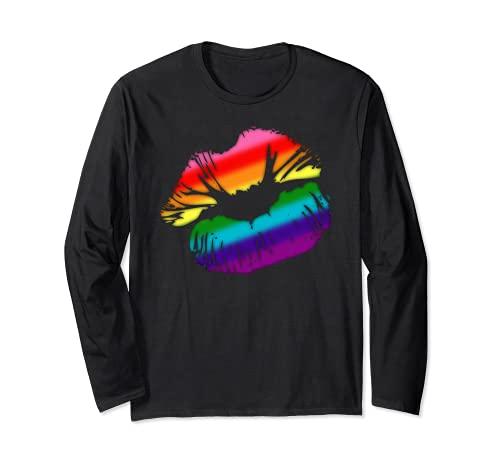Original Gilbert Baker LGBTQ Love Rainbow Pride Kissing Lips Long Sleeve T-Shirt