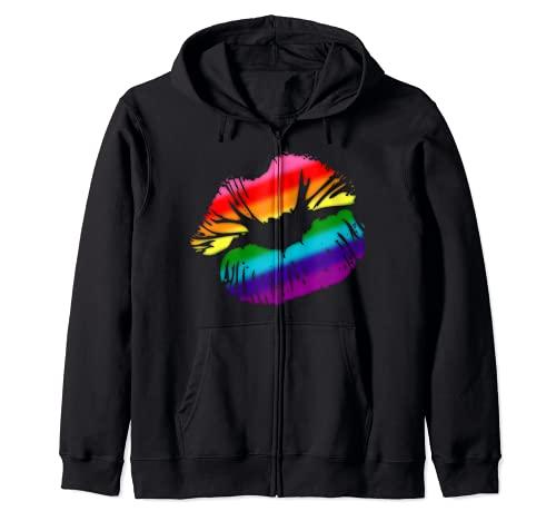Original Gilbert Baker LGBTQ Love Rainbow Pride Kissing Lips Zip Hoodie